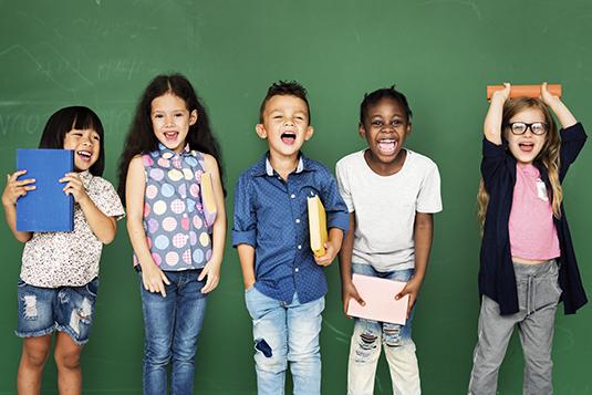 Lineup of children at school